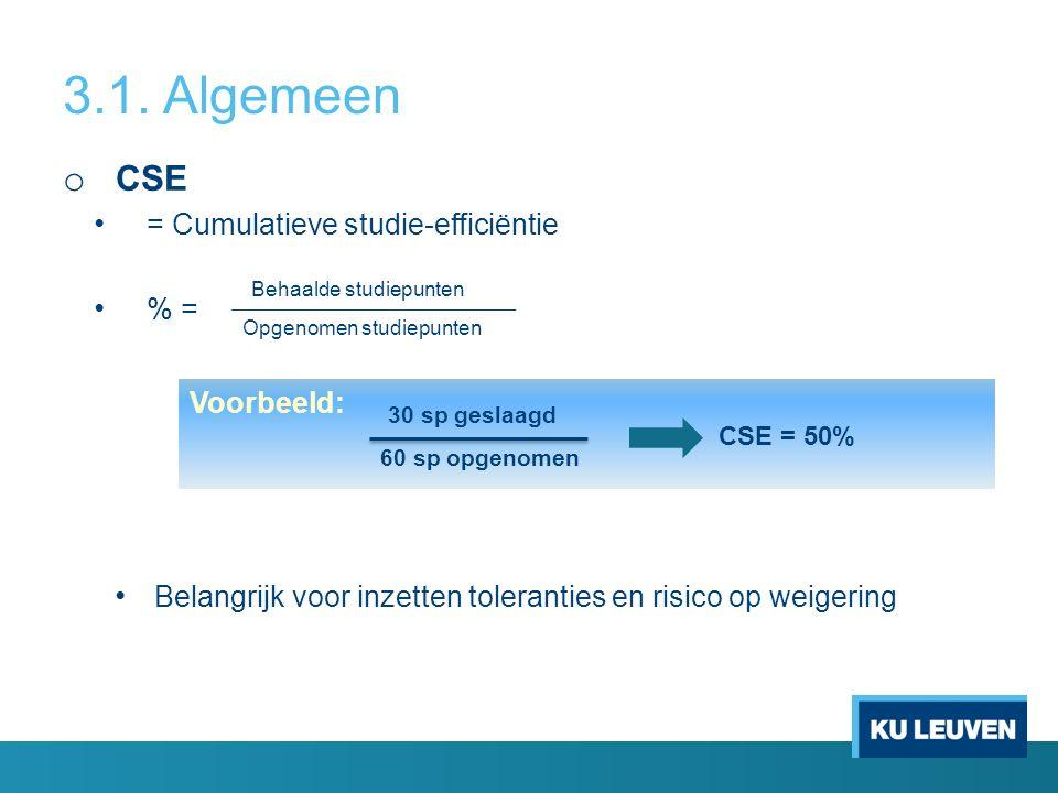 3.1. Algemeen o CSE = Cumulatieve studie-efficiëntie % = Belangrijk voor inzetten toleranties en risico op weigering Behaalde studiepunten Opgenomen s