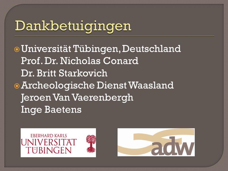  Universität Tübingen, Deutschland Prof. Dr. Nicholas Conard Dr. Britt Starkovich  Archeologische Dienst Waasland Jeroen Van Vaerenbergh Inge Baeten