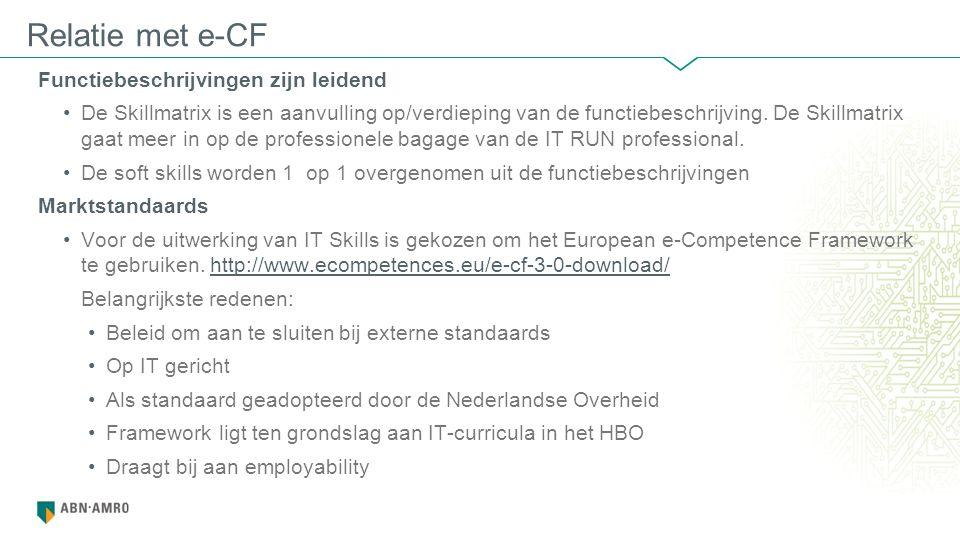 Functiebeschrijvingen zijn leidend De Skillmatrix is een aanvulling op/verdieping van de functiebeschrijving.