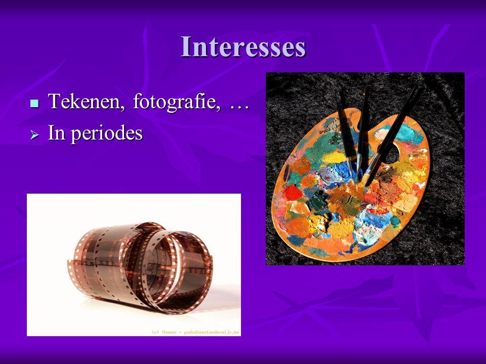 Interesses Tekenen, fotografie, … Tekenen, fotografie, …  In periodes