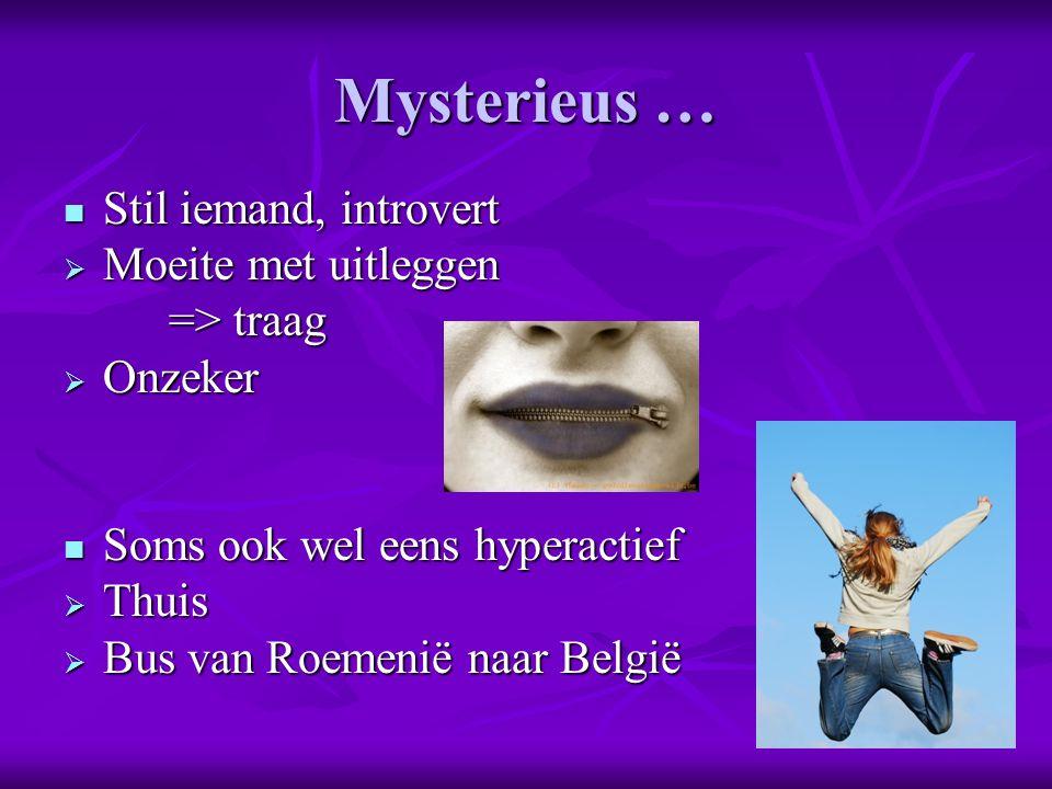 Mysterieus … Stil iemand, introvert Stil iemand, introvert  Moeite met uitleggen => traag  Onzeker Soms ook wel eens hyperactief Soms ook wel eens hyperactief  Thuis  Bus van Roemenië naar België