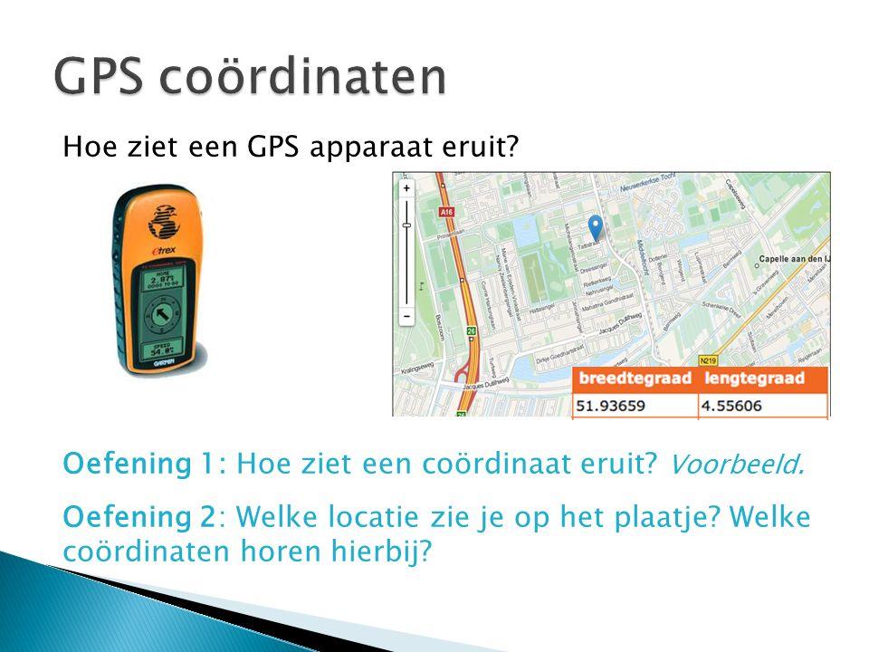 Hoe ziet een GPS apparaat eruit? Oefening 1: Hoe ziet een coördinaat eruit? Voorbeeld. Oefening 2: Welke locatie zie je op het plaatje? Welke coördina
