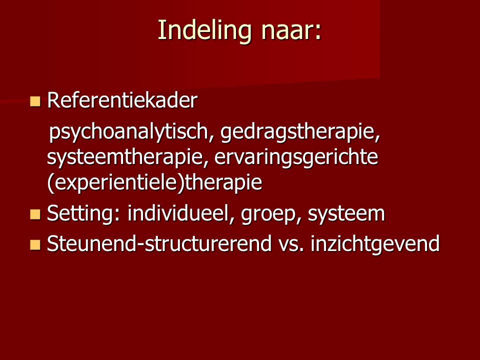 Indeling naar: Referentiekader Referentiekader psychoanalytisch, gedragstherapie, systeemtherapie, ervaringsgerichte (experientiele)therapie psychoanalytisch, gedragstherapie, systeemtherapie, ervaringsgerichte (experientiele)therapie Setting: individueel, groep, systeem Setting: individueel, groep, systeem Steunend-structurerend vs.