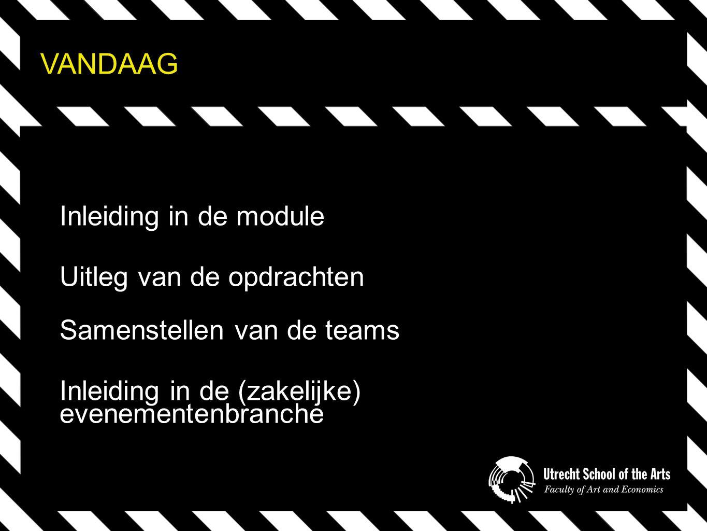 VANDAAG Inleiding in de module Uitleg van de opdrachten Samenstellen van de teams Inleiding in de (zakelijke) evenementenbranche