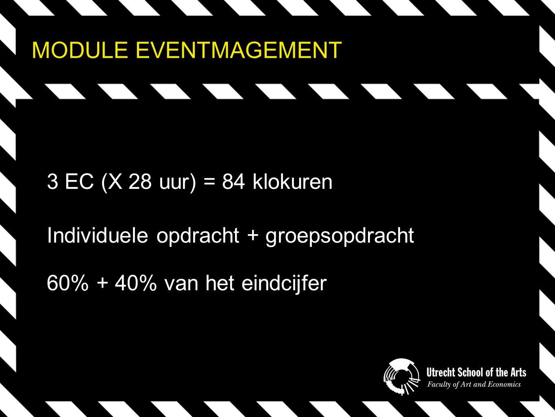MODULE EVENTMAGEMENT 3 EC (X 28 uur) = 84 klokuren Individuele opdracht + groepsopdracht 60% + 40% van het eindcijfer