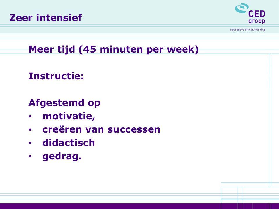 Zeer intensief Meer tijd (45 minuten per week) Instructie: Afgestemd op motivatie, creëren van successen didactisch gedrag.