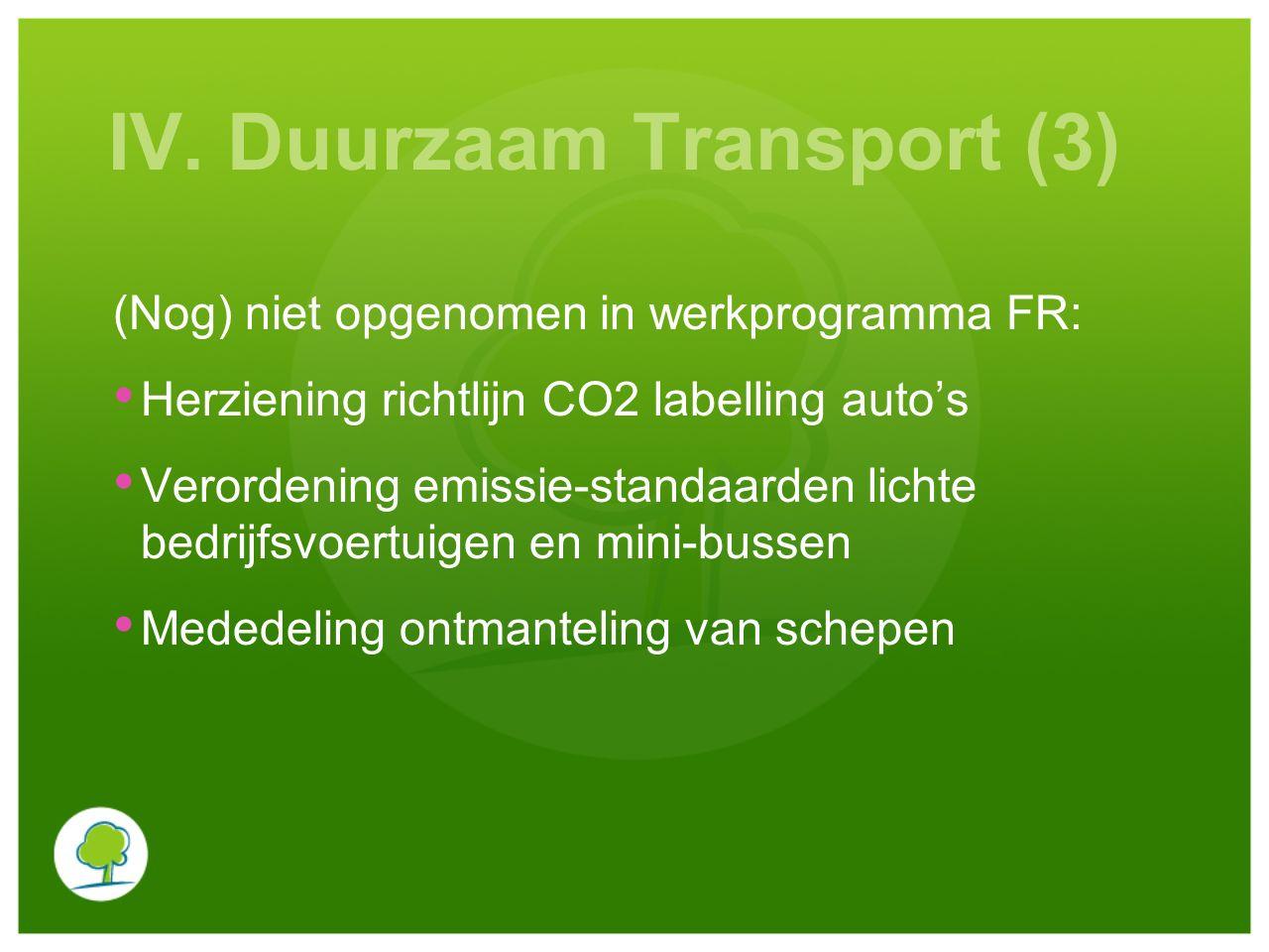 IV. Duurzaam Transport (3) (Nog) niet opgenomen in werkprogramma FR: Herziening richtlijn CO2 labelling auto's Verordening emissie-standaarden lichte