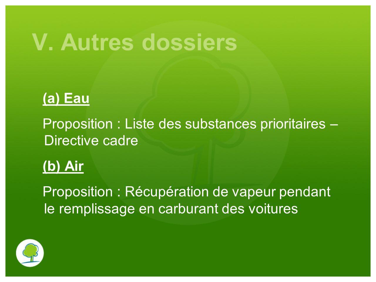 V. Autres dossiers (a) Eau Proposition : Liste des substances prioritaires – Directive cadre (b) Air Proposition : Récupération de vapeur pendant le r