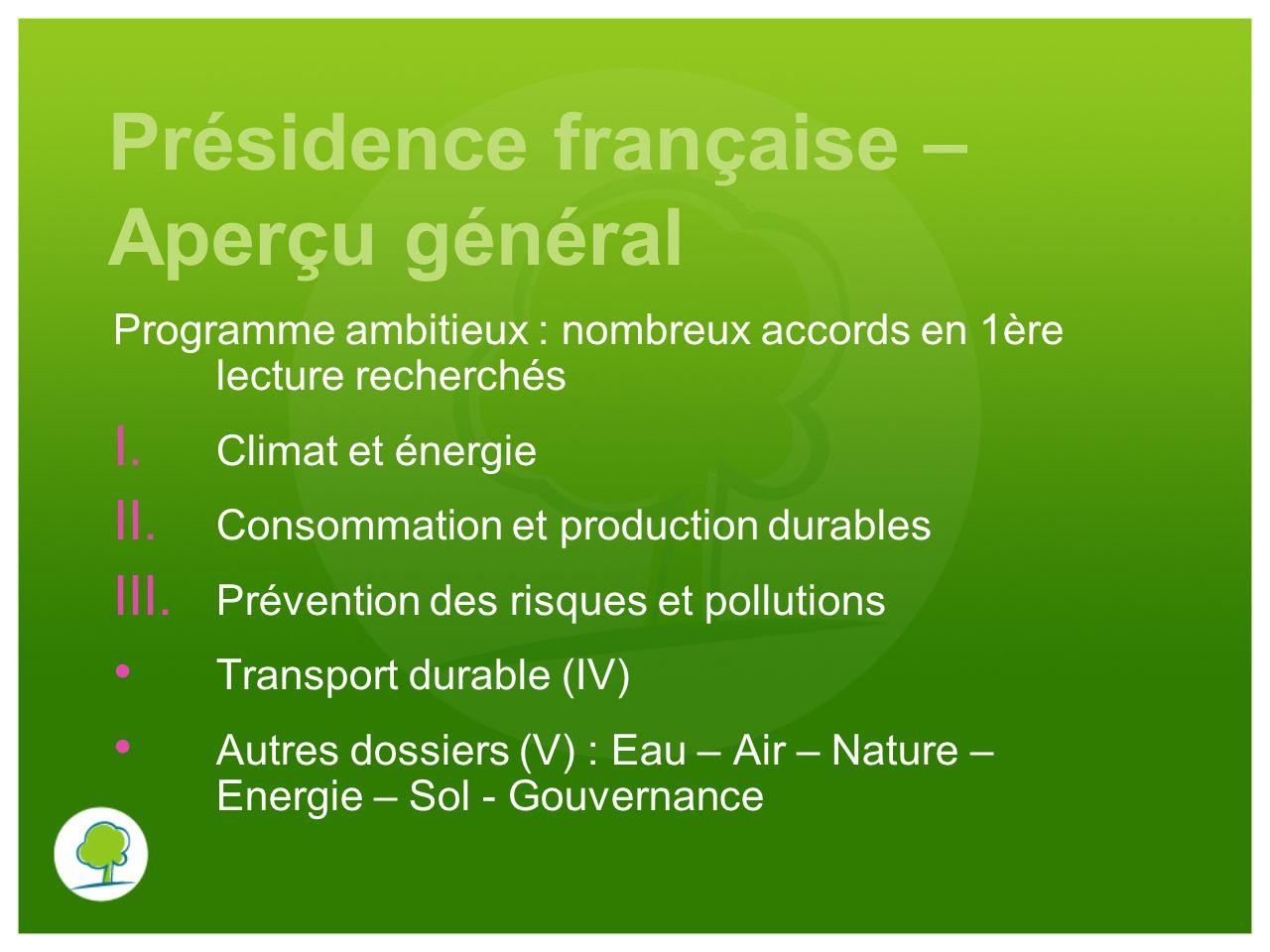 Présidence française – Aperçu général Programme ambitieux : nombreux accords en 1ère lecture recherchés I. Climat et énergie II. Consommation et produ