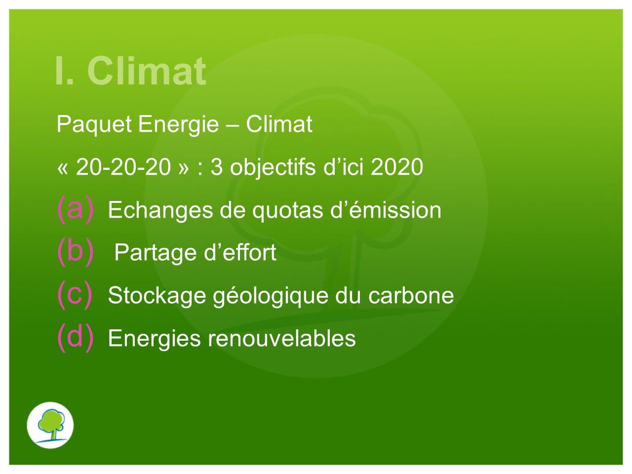 I. Climat Paquet Energie – Climat « 20-20-20 » : 3 objectifs d'ici 2020 (a) Echanges de quotas d'émission (b) Partage d'effort (c) Stockage géologique