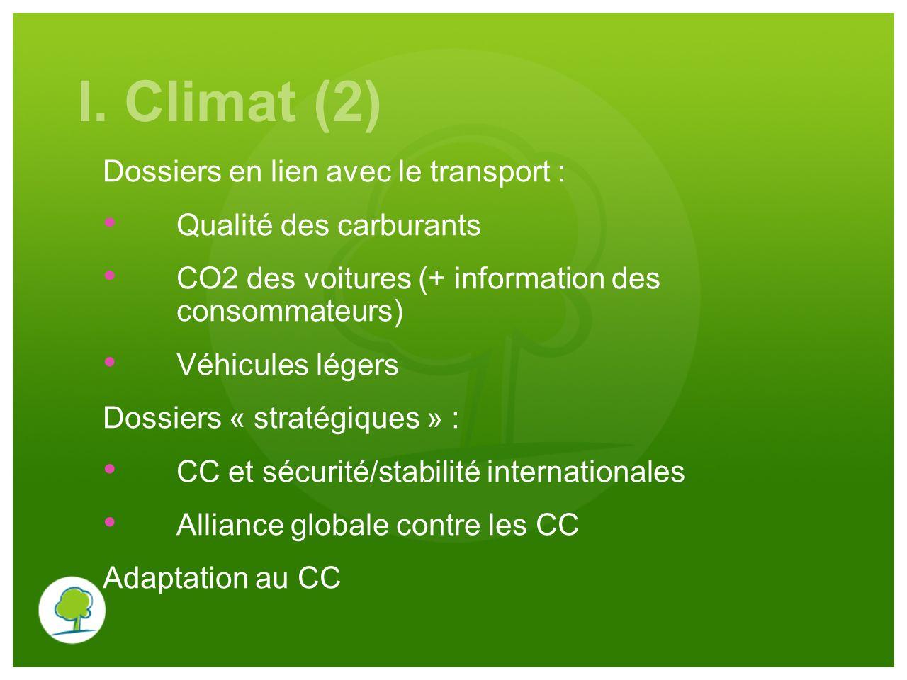 I. Climat (2) Dossiers en lien avec le transport : Qualité des carburants CO2 des voitures (+ information des consommateurs) Véhicules légers Dossiers