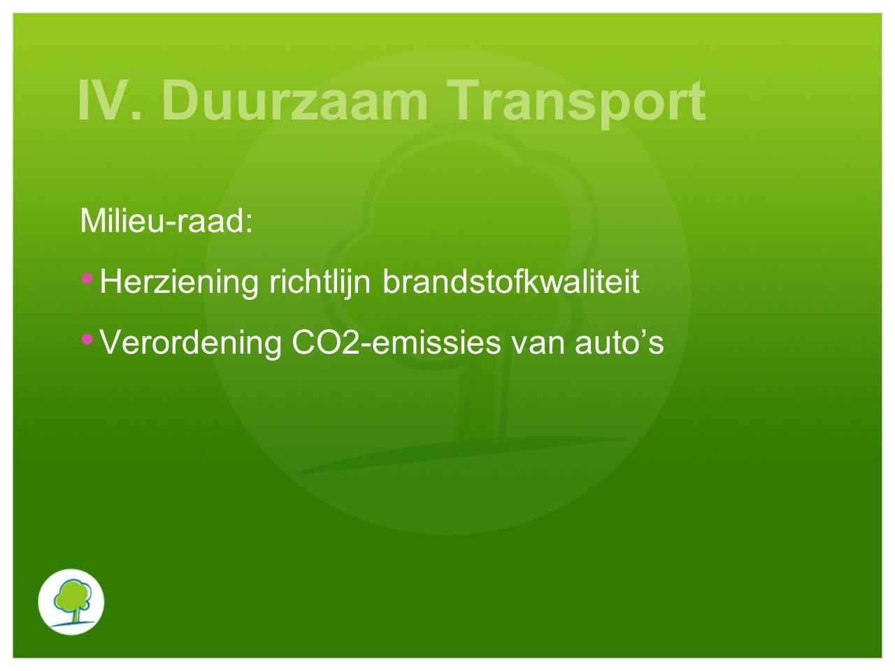 IV. Duurzaam Transport Milieu-raad: Herziening richtlijn brandstofkwaliteit Verordening CO2-emissies van auto's