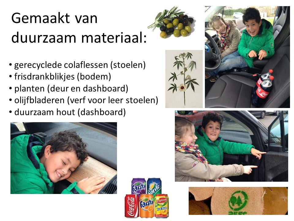 Gemaakt van duurzaam materiaal: gerecyclede colaflessen (stoelen) frisdrankblikjes (bodem) planten (deur en dashboard) olijfbladeren (verf voor leer stoelen) duurzaam hout (dashboard)