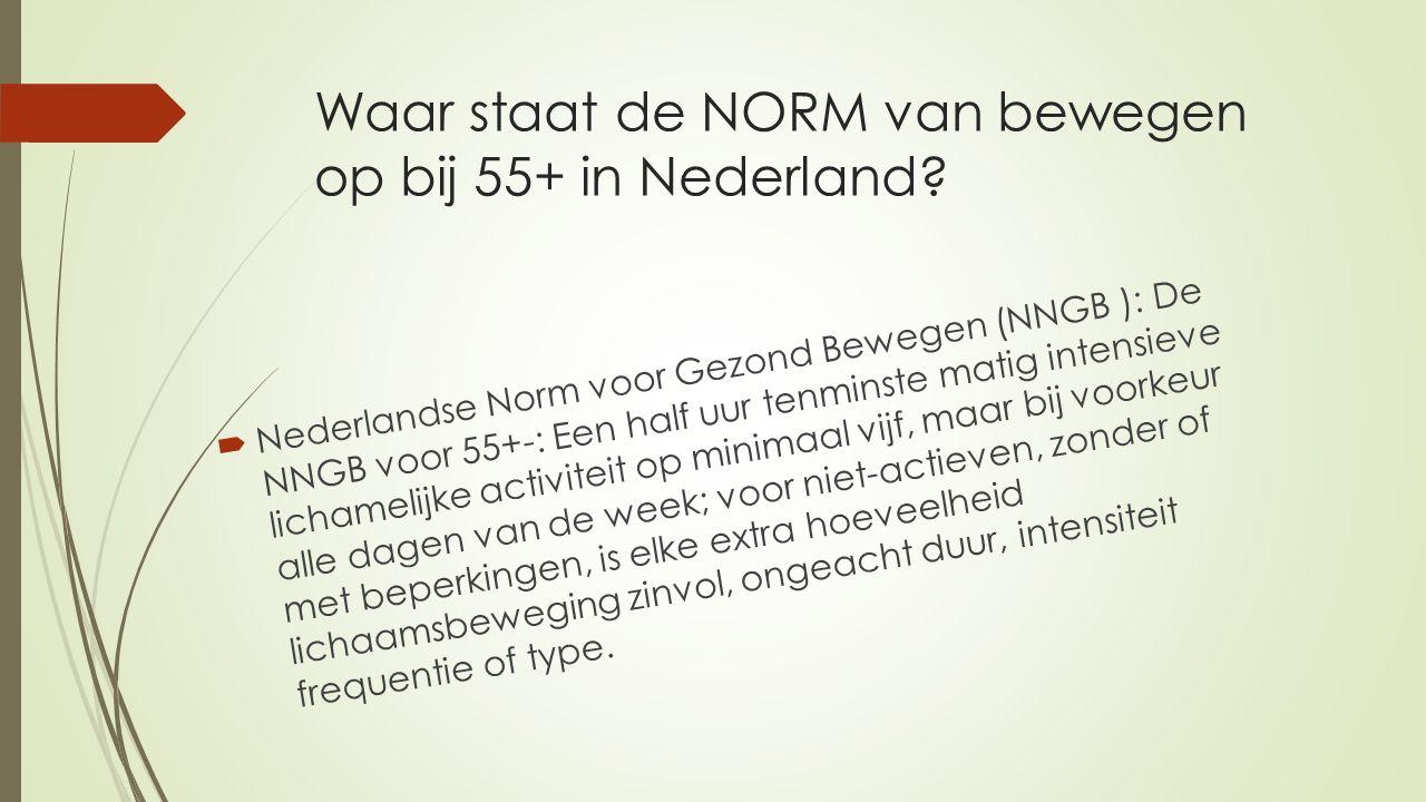 Waar staat de NORM van bewegen op bij 55+ in Nederland.