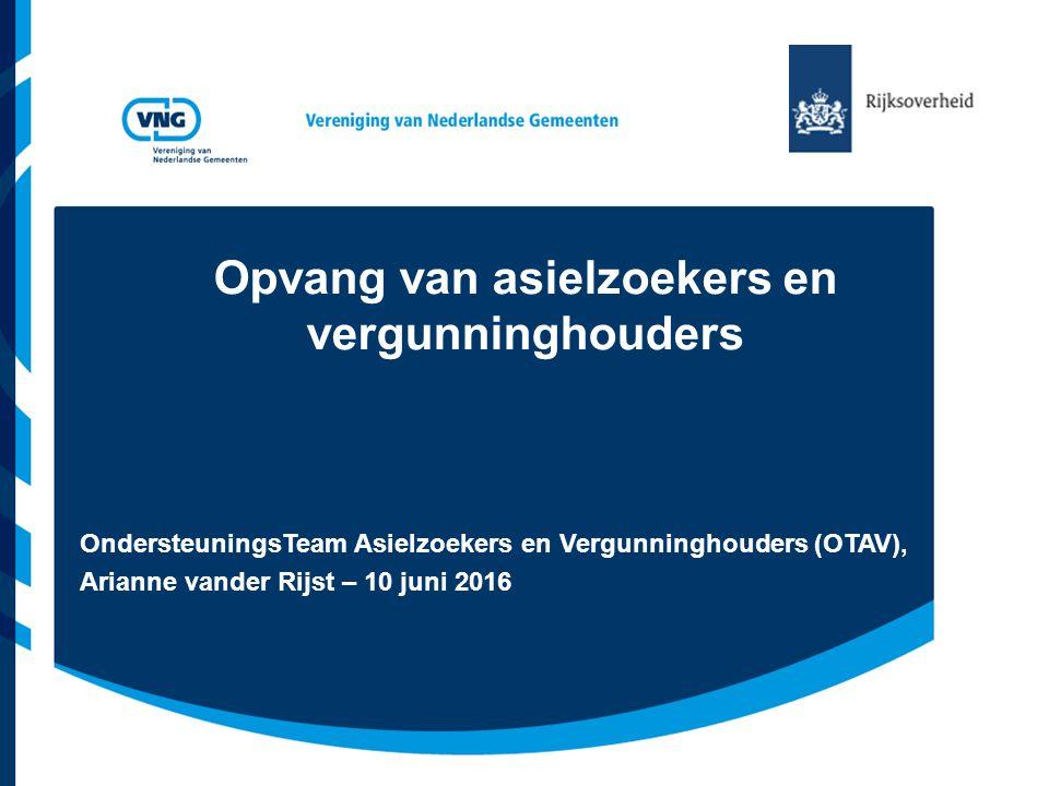 Opvang van asielzoekers en vergunninghouders OndersteuningsTeam Asielzoekers en Vergunninghouders (OTAV), Arianne vander Rijst – 10 juni 2016