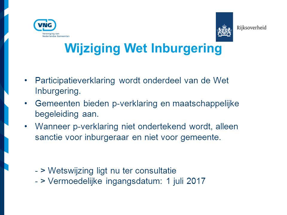 Wijziging Wet Inburgering Participatieverklaring wordt onderdeel van de Wet Inburgering.