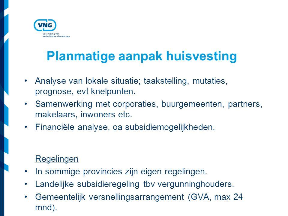 Planmatige aanpak huisvesting Analyse van lokale situatie; taakstelling, mutaties, prognose, evt knelpunten.