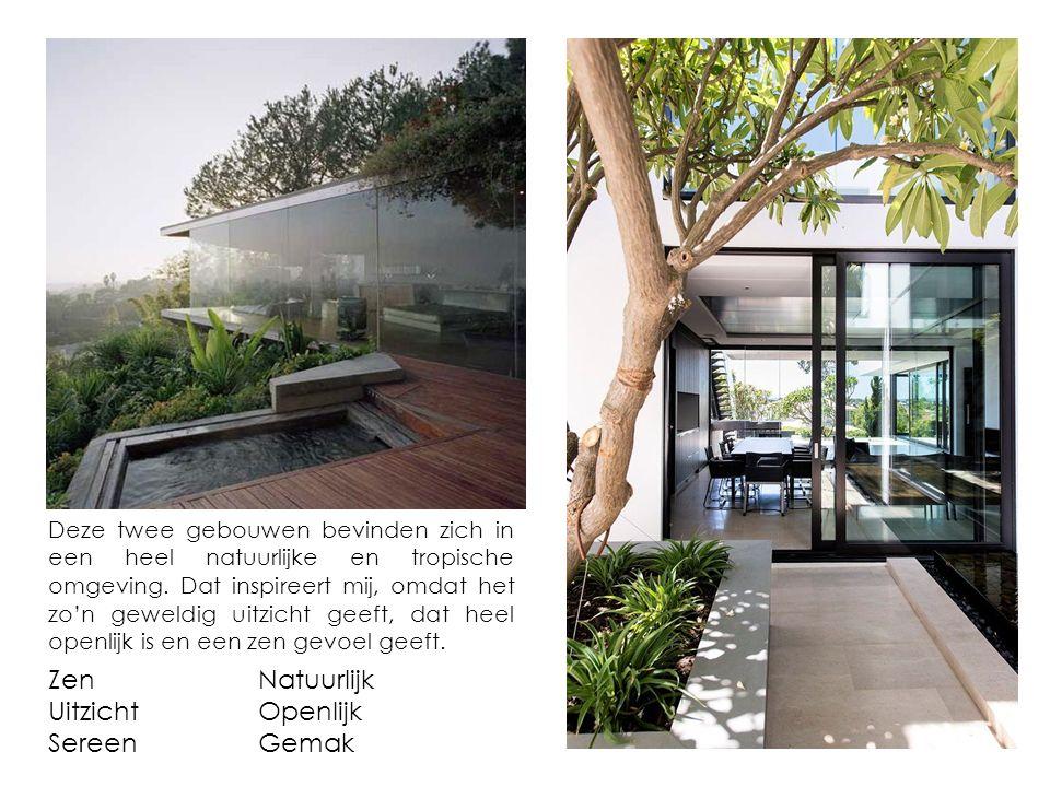 Deze twee gebouwen bevinden zich in een heel natuurlijke en tropische omgeving. Dat inspireert mij, omdat het zo'n geweldig uitzicht geeft, dat heel o