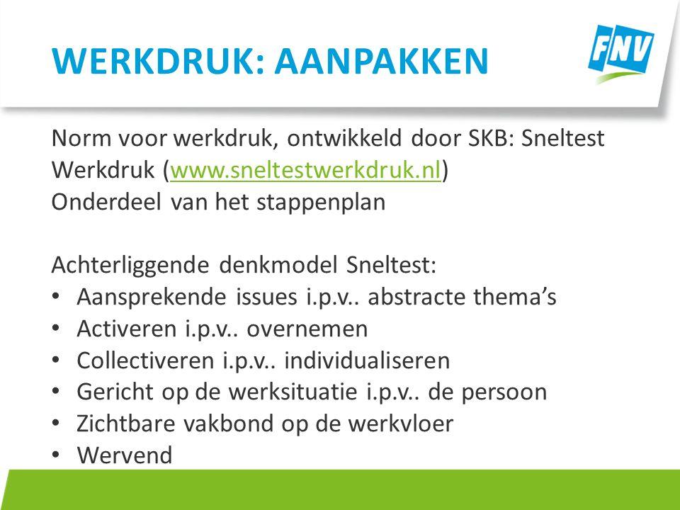 Norm voor werkdruk, ontwikkeld door SKB: Sneltest Werkdruk (www.sneltestwerkdruk.nl)www.sneltestwerkdruk.nl Onderdeel van het stappenplan Achterliggen