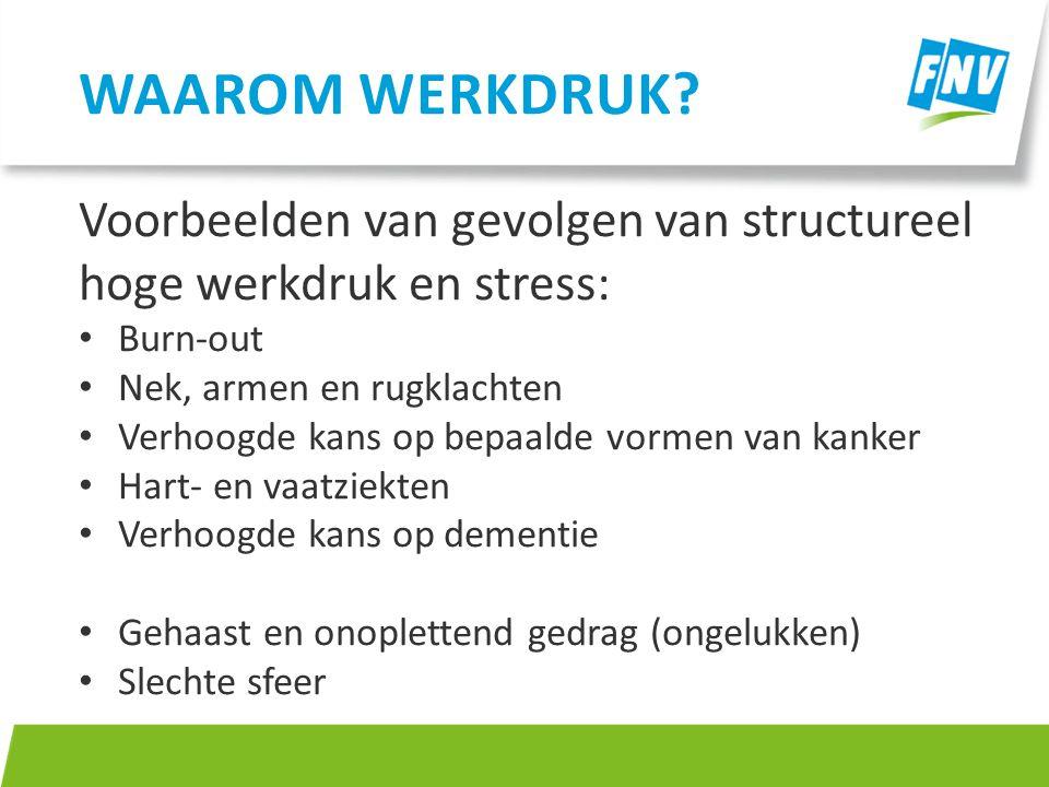 Voorbeelden van gevolgen van structureel hoge werkdruk en stress: Burn-out Nek, armen en rugklachten Verhoogde kans op bepaalde vormen van kanker Hart