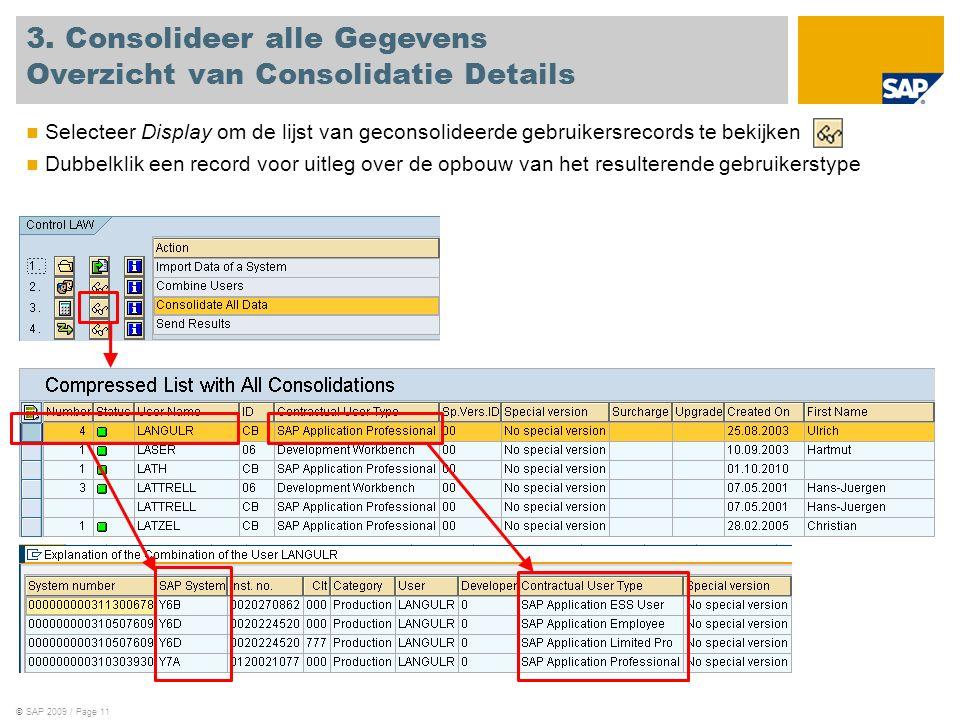 ©SAP 2009 / Page 11 Selecteer Display om de lijst van geconsolideerde gebruikersrecords te bekijken Dubbelklik een record voor uitleg over de opbouw van het resulterende gebruikerstype 3.
