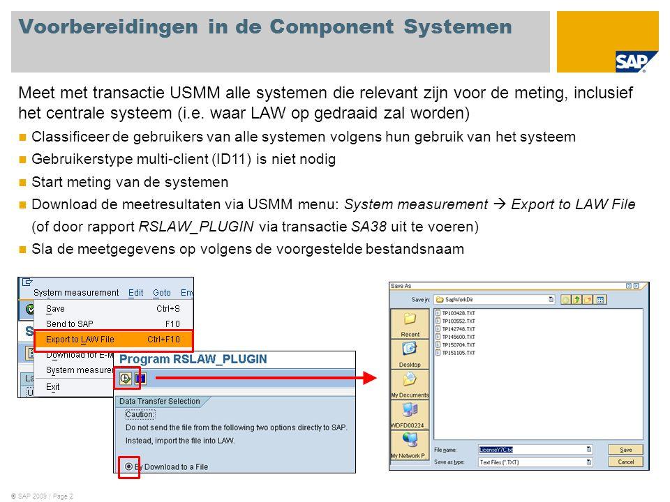 ©SAP 2009 / Page 2 Voorbereidingen in de Component Systemen Meet met transactie USMM alle systemen die relevant zijn voor de meting, inclusief het centrale systeem (i.e.