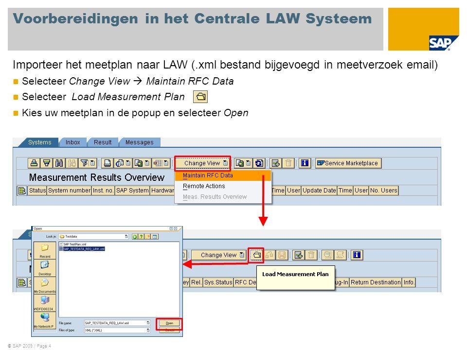 ©SAP 2009 / Page 4 Importeer het meetplan naar LAW (.xml bestand bijgevoegd in meetverzoek email) Selecteer Change View  Maintain RFC Data Selecteer Load Measurement Plan Kies uw meetplan in de popup en selecteer Open Voorbereidingen in het Centrale LAW Systeem