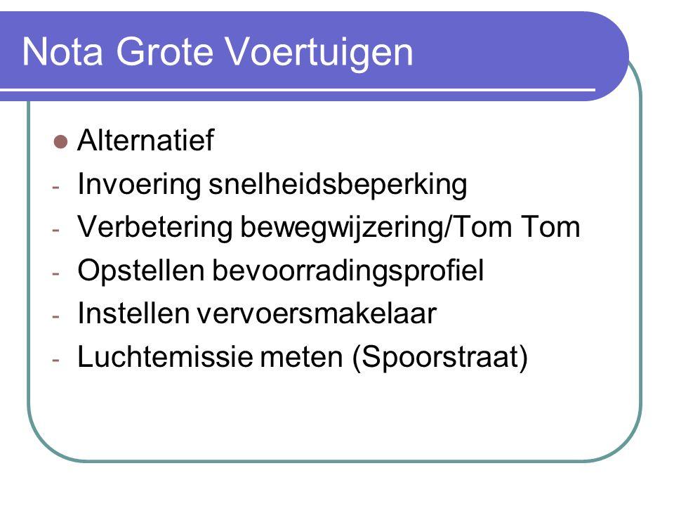 Alternatief - Invoering snelheidsbeperking - Verbetering bewegwijzering/Tom Tom - Opstellen bevoorradingsprofiel - Instellen vervoersmakelaar - Luchte