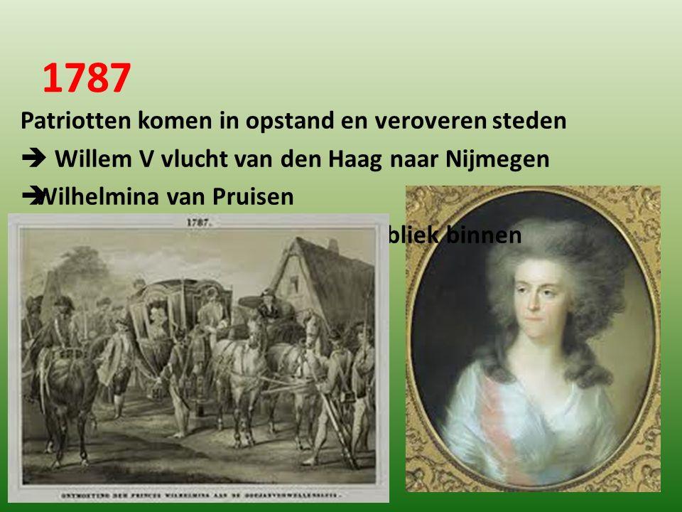 1787 Patriotten komen in opstand en veroveren steden  Willem V vlucht van den Haag naar Nijmegen  Wilhelmina van Pruisen  Koning van Pruisen valt d