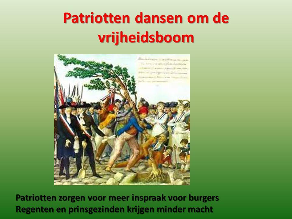 Patriotten dansen om de vrijheidsboom Patriotten zorgen voor meer inspraak voor burgers Regenten en prinsgezinden krijgen minder macht