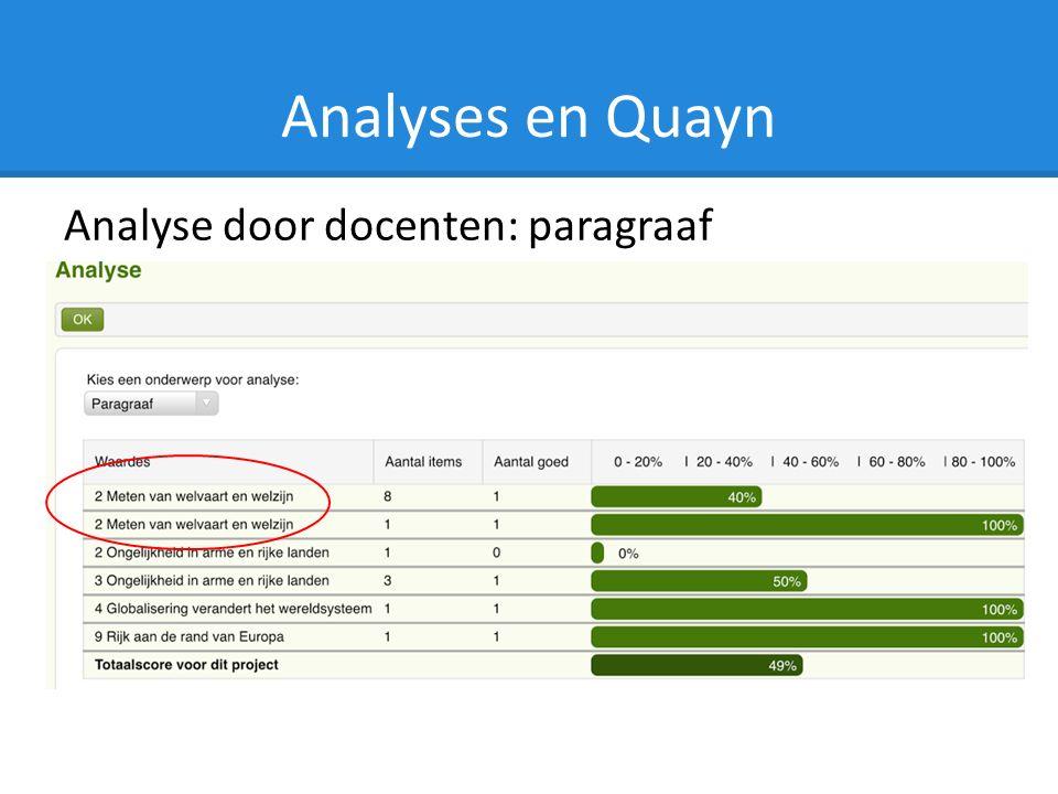 Analyses en Quayn Analyse door docenten: paragraaf