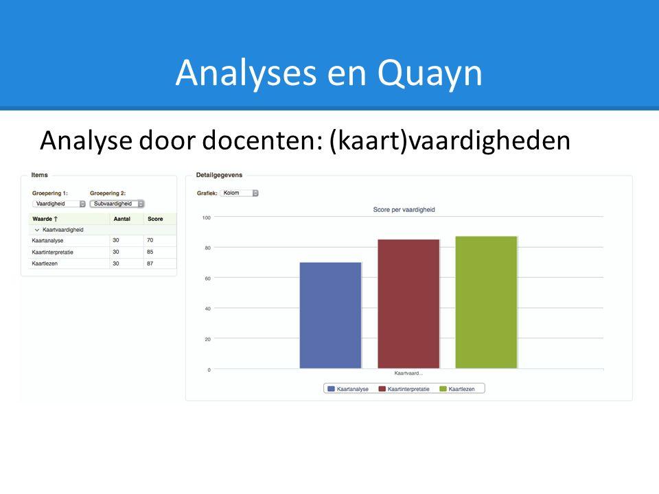 Analyses en Quayn Analyse door docenten: (kaart)vaardigheden