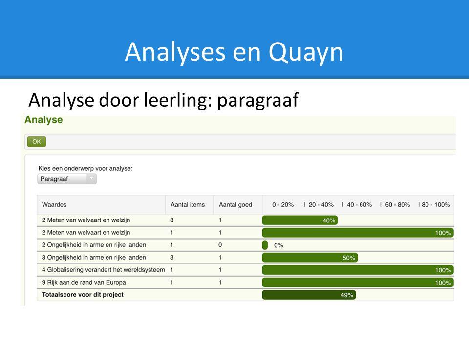 Analyses en Quayn Analyse door leerling: paragraaf