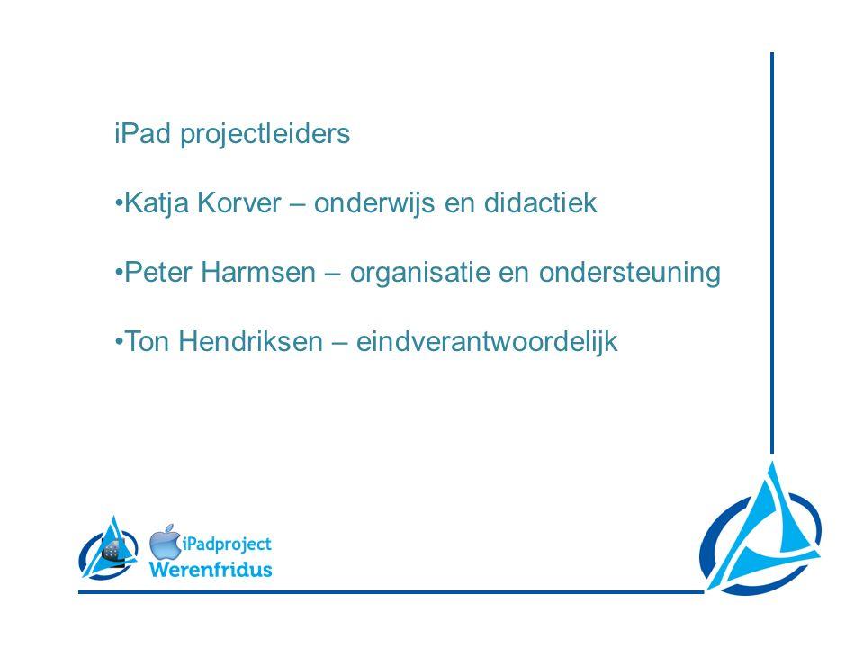 iPad projectleiders Katja Korver – onderwijs en didactiek Peter Harmsen – organisatie en ondersteuning Ton Hendriksen – eindverantwoordelijk