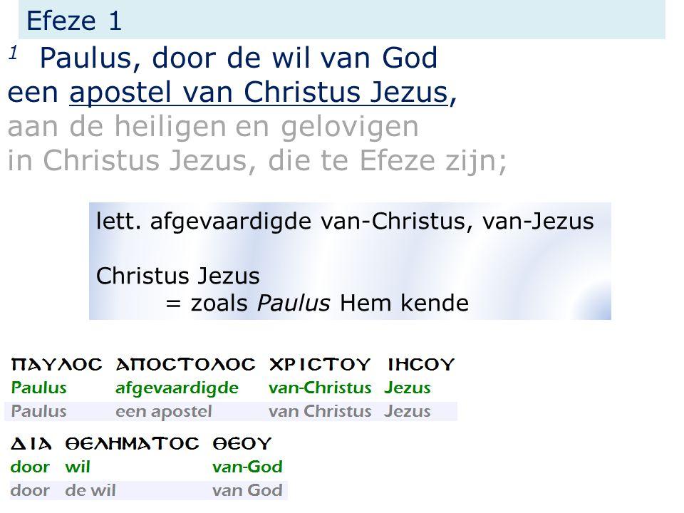 Efeze 1 1 Paulus, door de wil van God een apostel van Christus Jezus, aan de heiligen en gelovigen in Christus Jezus, die te Efeze zijn; lett.