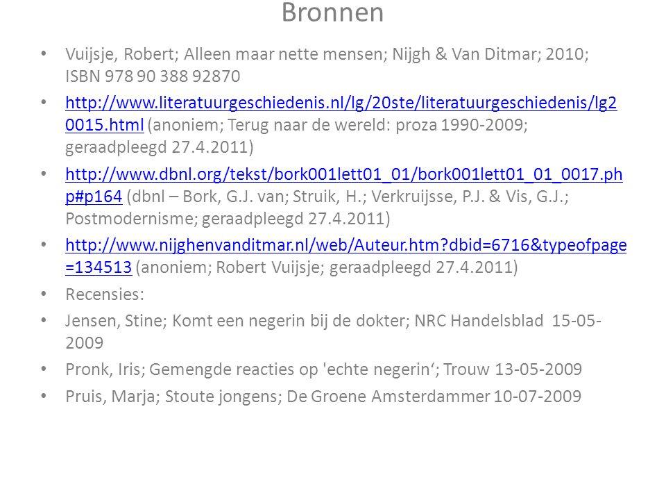 Bronnen Vuijsje, Robert; Alleen maar nette mensen; Nijgh & Van Ditmar; 2010; ISBN 978 90 388 92870 http://www.literatuurgeschiedenis.nl/lg/20ste/literatuurgeschiedenis/lg2 0015.html (anoniem; Terug naar de wereld: proza 1990-2009; geraadpleegd 27.4.2011) http://www.literatuurgeschiedenis.nl/lg/20ste/literatuurgeschiedenis/lg2 0015.html http://www.dbnl.org/tekst/bork001lett01_01/bork001lett01_01_0017.ph p#p164 (dbnl – Bork, G.J.