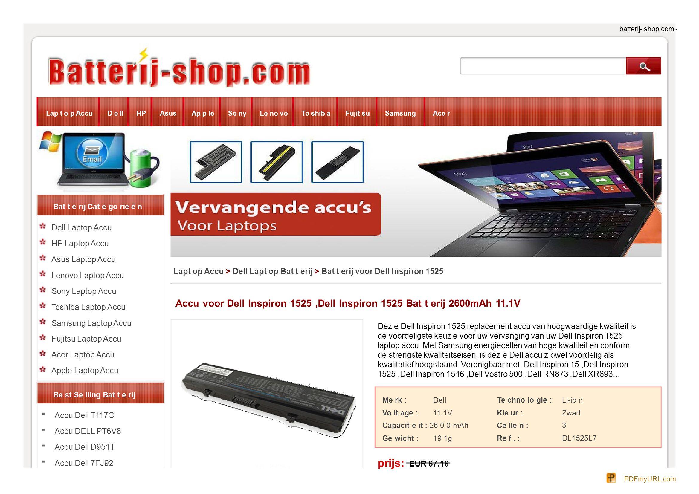 batterij- shop.com - Lap t o p AccuD e llHPAsusAp p leSo nyLe no voTo shib aFujit suSamsungAce r Bat t e rij Cat e go rie ë n Dell Laptop Accu HP Lapt