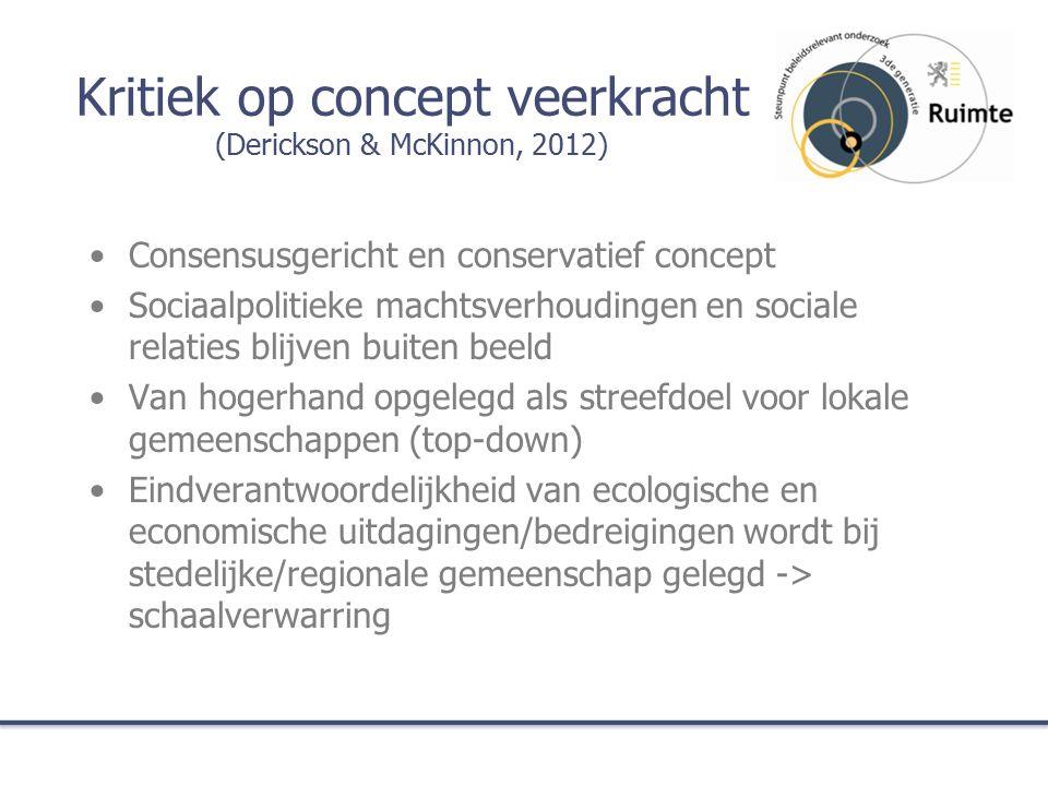 Kritiek op concept veerkracht (Derickson & McKinnon, 2012) Consensusgericht en conservatief concept Sociaalpolitieke machtsverhoudingen en sociale relaties blijven buiten beeld Van hogerhand opgelegd als streefdoel voor lokale gemeenschappen (top-down) Eindverantwoordelijkheid van ecologische en economische uitdagingen/bedreigingen wordt bij stedelijke/regionale gemeenschap gelegd -> schaalverwarring