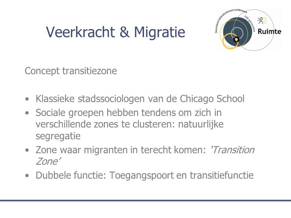 Veerkracht & Migratie Concept transitiezone Klassieke stadssociologen van de Chicago School Sociale groepen hebben tendens om zich in verschillende zones te clusteren: natuurlijke segregatie Zone waar migranten in terecht komen: 'Transition Zone' Dubbele functie: Toegangspoort en transitiefunctie