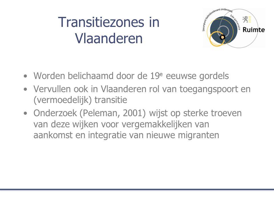 Transitiezones in Vlaanderen Worden belichaamd door de 19 e eeuwse gordels Vervullen ook in Vlaanderen rol van toegangspoort en (vermoedelijk) transitie Onderzoek (Peleman, 2001) wijst op sterke troeven van deze wijken voor vergemakkelijken van aankomst en integratie van nieuwe migranten