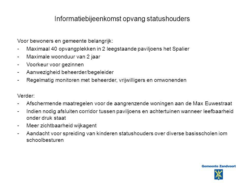 Informatiebijeenkomst opvang statushouders Voor bewoners en gemeente belangrijk: -Maximaal 40 opvangplekken in 2 leegstaande paviljoens het Spalier -Maximale woonduur van 2 jaar -Voorkeur voor gezinnen -Aanwezigheid beheerder/begeleider -Regelmatig monitoren met beheerder, vrijwilligers en omwonenden Verder: -Afschermende maatregelen voor de aangrenzende woningen aan de Max Euwestraat -Indien nodig afsluiten corridor tussen paviljoens en achtertuinen wanneer leefbaarheid onder druk staat -Meer zichtbaarheid wijkagent -Aandacht voor spreiding van kinderen statushouders over diverse basisscholen iom schoolbesturen