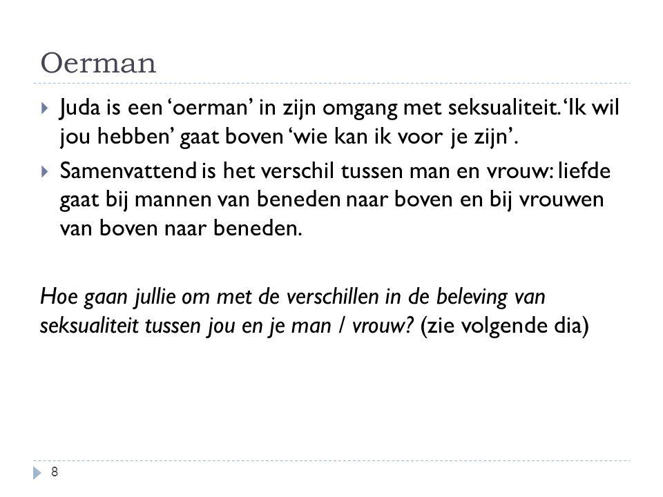 Oerman 8  Juda is een 'oerman' in zijn omgang met seksualiteit.