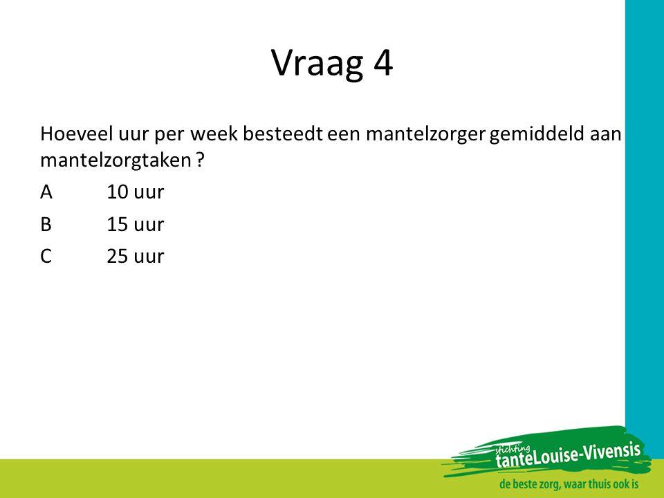 Vraag 4 Hoeveel uur per week besteedt een mantelzorger gemiddeld aan mantelzorgtaken ? A10 uur B15 uur C25 uur