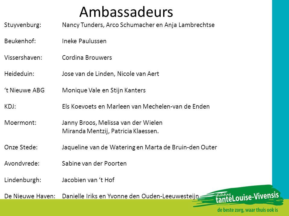 Ambassadeurs Stuyvenburg: Nancy Tunders, Arco Schumacher en Anja Lambrechtse Beukenhof:Ineke Paulussen Vissershaven:Cordina Brouwers Heideduin: Jose v