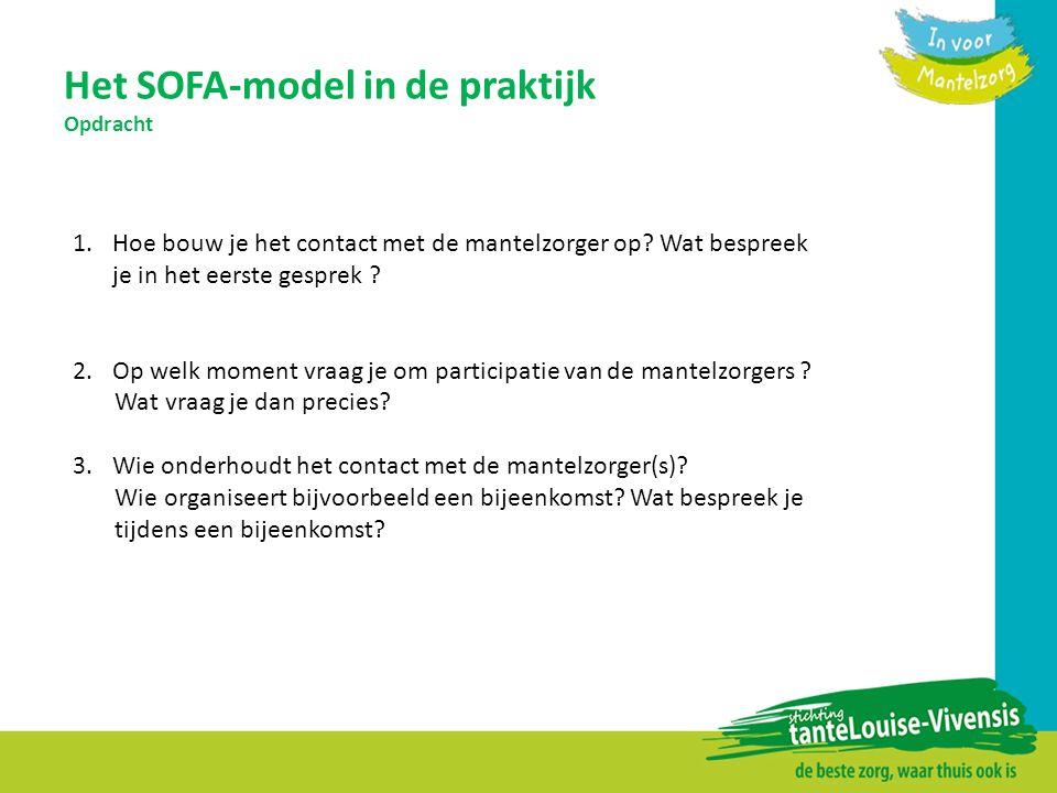 Het SOFA-model in de praktijk Opdracht 1.Hoe bouw je het contact met de mantelzorger op? Wat bespreek je in het eerste gesprek ? 2.Op welk moment vraa