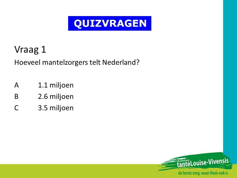 Vraag 1 Hoeveel mantelzorgers telt Nederland? A1.1 miljoen B2.6 miljoen C3.5 miljoen