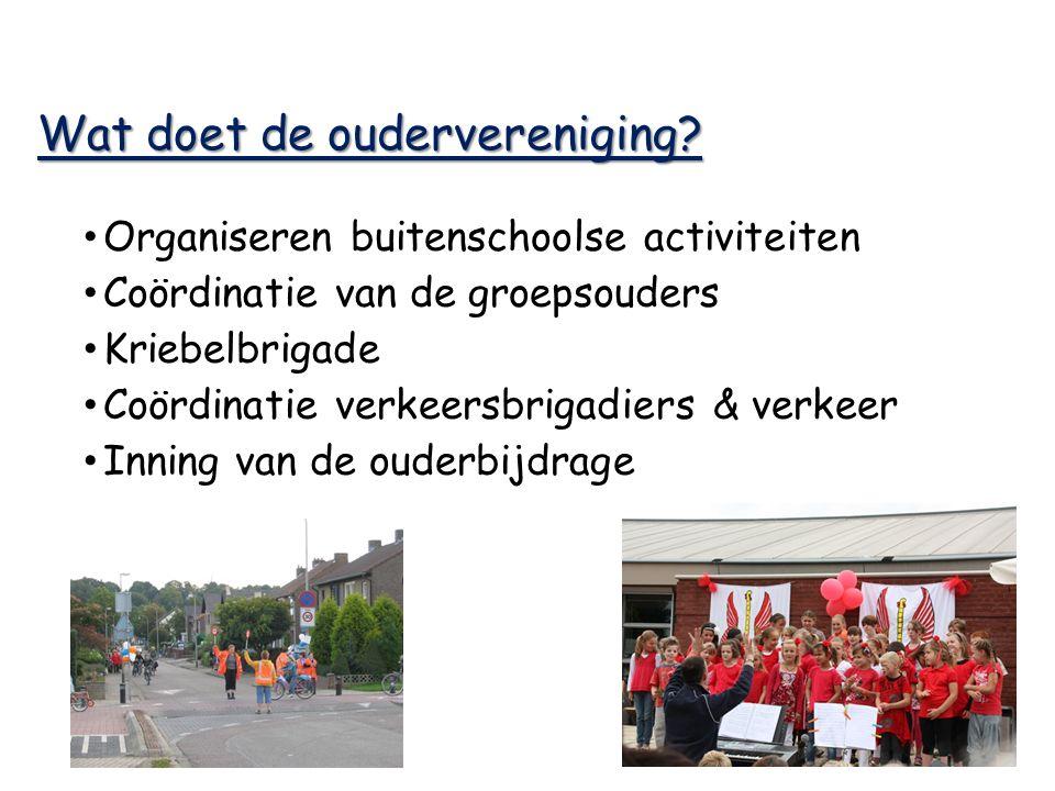 Wat doet de oudervereniging? Organiseren buitenschoolse activiteiten Coördinatie van de groepsouders Kriebelbrigade Coördinatie verkeersbrigadiers & v