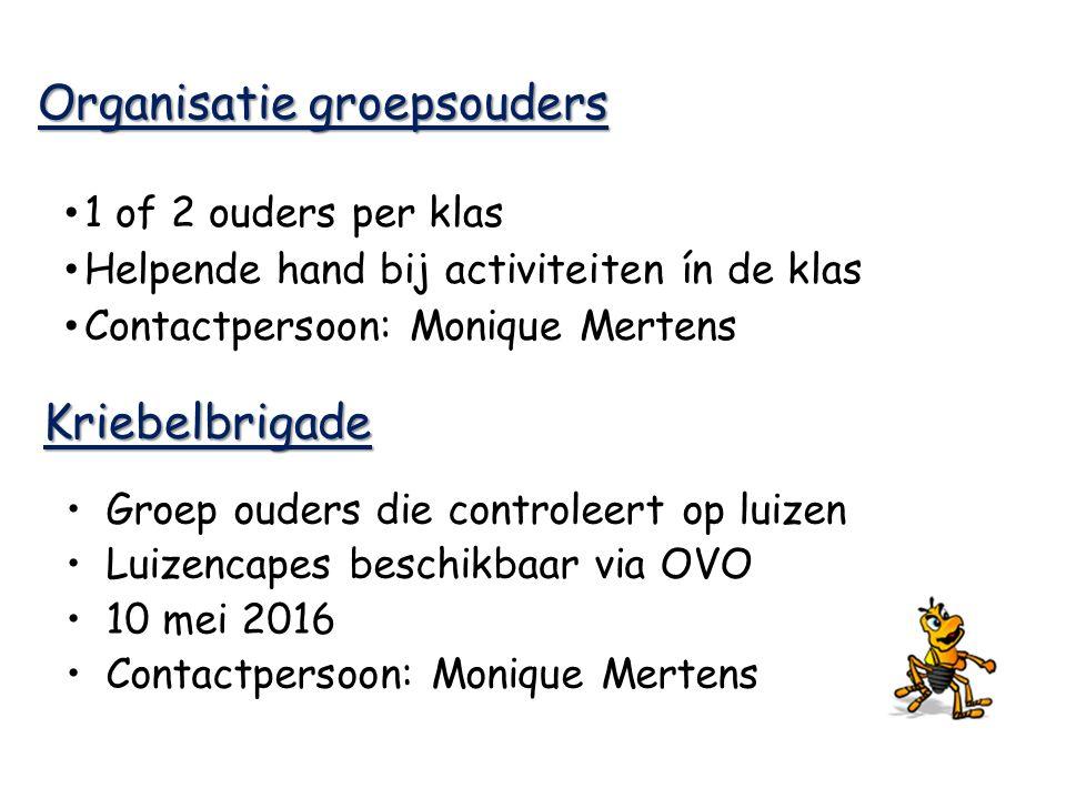 Organisatie groepsouders 1 of 2 ouders per klas Helpende hand bij activiteiten ín de klas Contactpersoon: Monique Mertens Kriebelbrigade Groep ouders