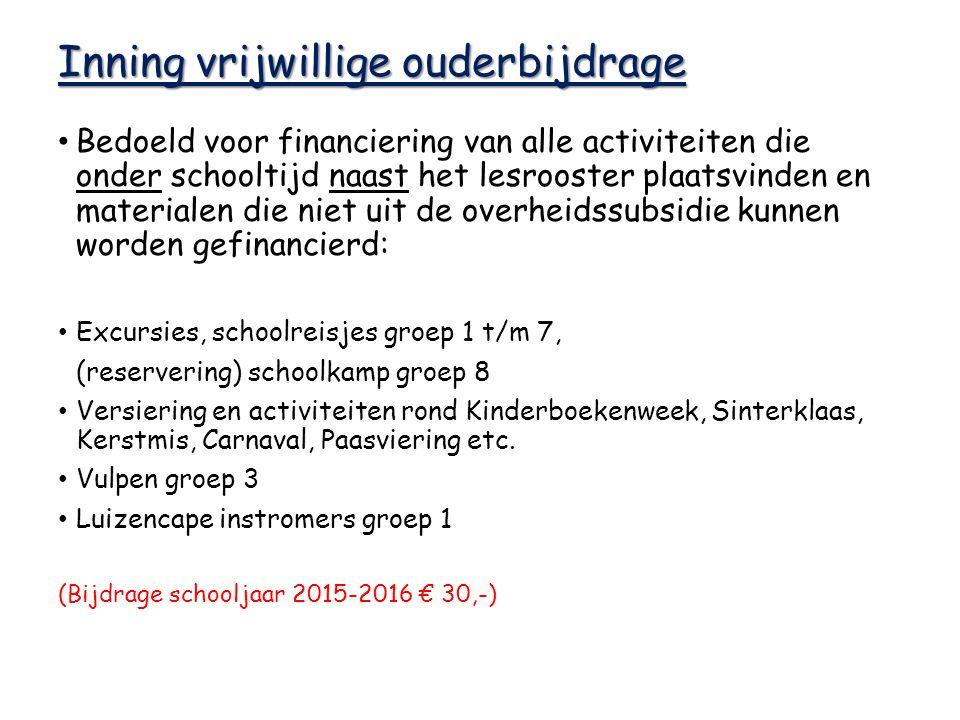 Inning vrijwillige ouderbijdrage Bedoeld voor financiering van alle activiteiten die onder schooltijd naast het lesrooster plaatsvinden en materialen