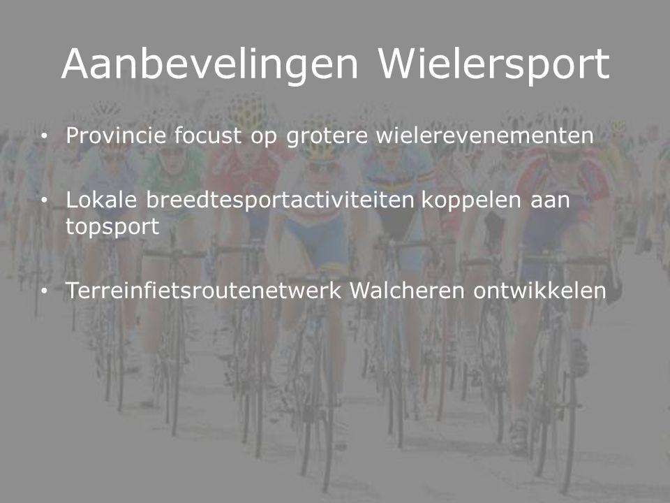 Aanbevelingen Wielersport Provincie focust op grotere wielerevenementen Lokale breedtesportactiviteiten koppelen aan topsport Terreinfietsroutenetwerk Walcheren ontwikkelen